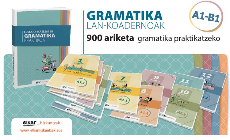 Elkar Hizkuntzak-en eskutik, gramatika lan-koadernoen bilduma osatuta